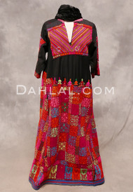 AFGHANI DRESS- Black, Red and Multi-Color