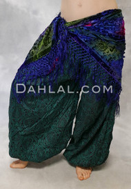 Forest Green and Black Printed Harem Pants
