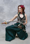 Forest Green Harem Pants shown with Twilight Tales Silk Brocade Overbust Tail Vest