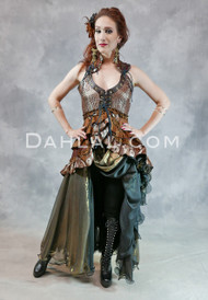 Tail Vest with Metallic Chiffon Skirt