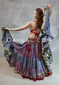25 Yard Printed Silk Tribal Belly Dance Skirt
