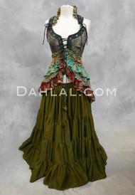 Twilight Tales Silk Printed Overbust Tail Vest