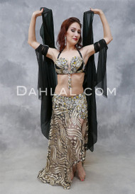 EGYPTIAN ENCHANTMENT- Black, Beige, Gold and Silver, Bra Size B/C- C, by Designer Rising Stars