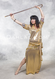 FIFI ABDO GALABEYA DRESS - Gold with Gold and Copper, Size Medium