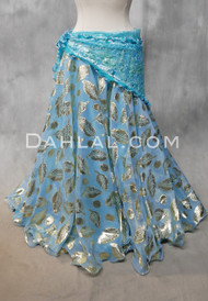 Metallic Printed Double Chiffon Skirt in Light Blue
