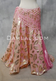 Metallic Printed Pink Double Chiffon Skirt from Egypt
