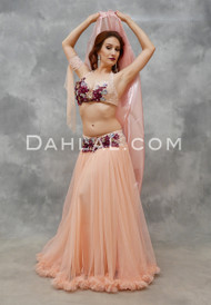 PINK CHAMPAGNE- Peach, Wine & Silver, Bra Size B/C #3, by Designer Mamdouh Morise
