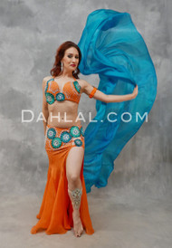 ORANGE ZEST- Orange, Teal & Silver, Bra Size C or C/D #4, by Designer Mamdouh Morise
