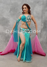 Teal and Fuchsia Egyptian Beaded Costume