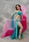 Teal and Fuchsia Egyptian Beaded Costume with Gradient Silk Veil in Fuchsia and Pink