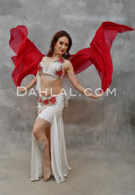 VANILLA ROUGE- White, Red & Silver, Bra Size C- B/C #3, by Designer Mamdouh Morise