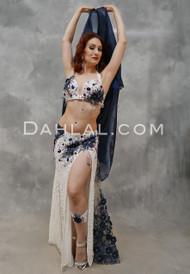 SONATA IN BLUE- Ivory, Midnight Blue, Fuchsia & Silver, Bra Size C- C/D #4, by Designer Mamdouh Morise