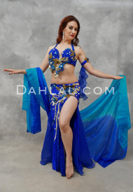 RIDDLE OF THE SPHINX- Royal Blue, Gold & Turquoise, Bra Size C- B/C,  by Designer Mamdouh Morise