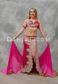 EGYPTIAN ICON- Fuchsia and Gold, Bra Size C- C/D, by Designer Mamdouh Morise