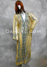 EMBROIDERED CAFTAN- Light Yellow and Blue, Option 6
