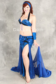 SPIRAL SEDUCTION in Royal Blue and Black by Pharaonics of Egypt, Egyptian Belly Dance Costume