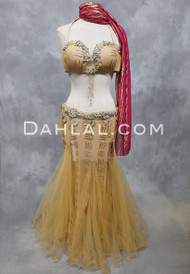 GODDESS OF PHOENICIA- Gold and Nude, Bra Size C-B/C, Egyptian Belly Dance Costume
