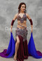 Wine, Gold and Silver Beaded Lace Egyptian Costume