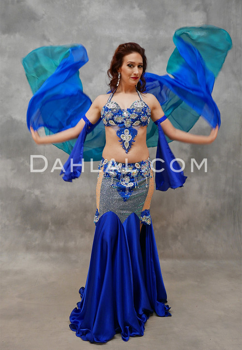 Stunning Royal Blue and Turquoise Egyptian Costume