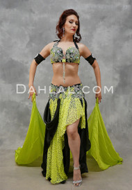 Vibrant Lime Lace and Black Egyptian Costumes