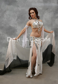White and Black Satin Egyptian Belly Dance Costume
