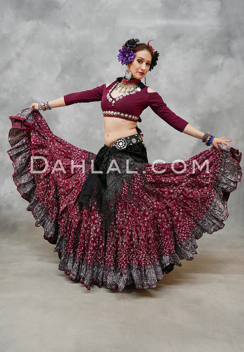 Extra Full Wine Printed Tiered Skirt