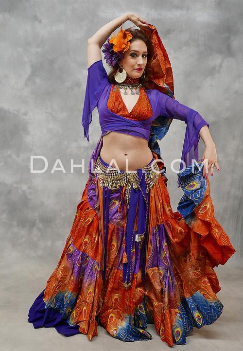 25 Yard Peacock Tribal Belly Dance Skirt