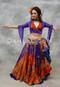 Orange and Purple Peacock Tribal Belly Dance Skirt