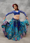 Turquoise Peacock Belly Dance Skirt