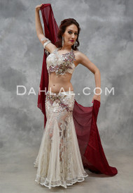 ICE QUEEN- Ivory, Silver and Wine, Bra Size B/C- C, by Designer Mamdouh Morise