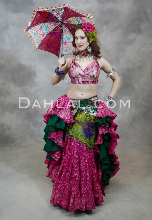 Hot Pink Printed Cotton Maharani Skirt