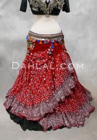 EARTHLY ESSENCE- Red Printed Cotton Maharani Skirt