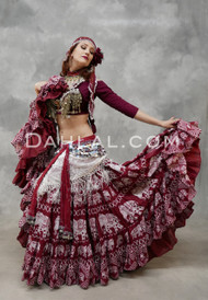 EASTERN EXPRESSIONS 25 Yard Printed Wine Tribal Skirt