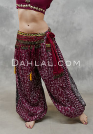EARTHLY ESSENCE- Wine Printed Cotton Maharani Harem Pants