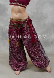 EARTHLY ESSENCE- Wine Printed Cotton Maharani Harem Pants