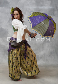 DAMIETTA DREAMS - Pale Yellow, Royal Purple and Teal, Paisley Printed Harem Pants