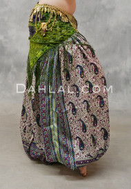 DAMIETTA DREAMS - Cream, Fuchsia, Royal Blue and Green, Paisley Printed Harem Pants