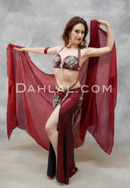 red and black belly dance costume