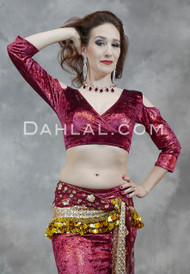 Nefertiti Gilded Velvet Mock Wrap Top in Burgundy and Red