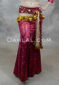Nefertiti Gilded Velvet Mermaid Skirt in Burgundy and Red