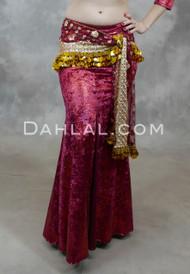 Nefertiti Gilded Velvet Mermaid Skirt in Burgundy and Red
