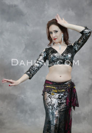 Black and Gunmetal Gilded Velvet Top
