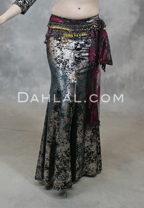 Black and Gunmetal Gilded Velvet Skirt