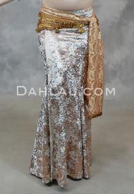 Taupe and Rose Gold Gilded Velvet Skirt
