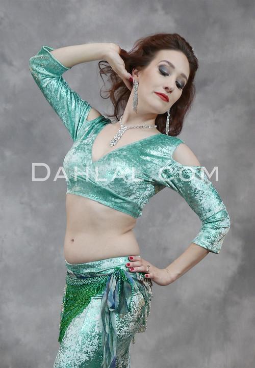 Mint Green Gilded Velvet Mock Wrap Top