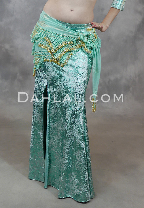 Mint Gilded Velvet Mermaid Skirt