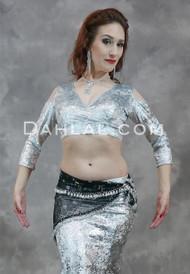 Silver Gilded Velvet Mock Wrap Top