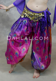 PEACOCK PERFECTION Harem Pants- Hot Pink, Purple and Orange