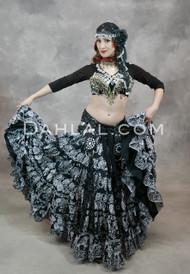 EASTERN EXPRESSIONS 25 Yard Printed Black Tribal Skirt
