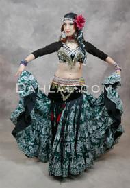 EASTERN EXPRESSIONS 25 Yard Printed Green Tribal Skirt
